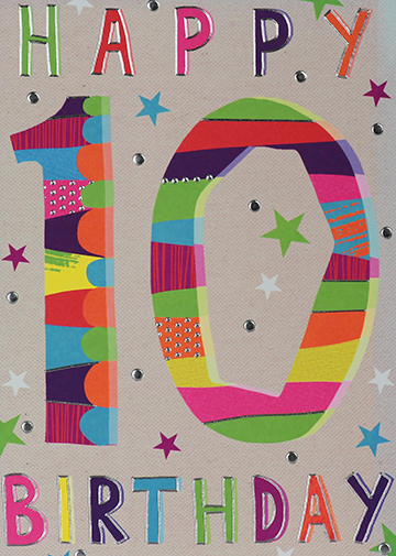Colourful 10th Birthday Card