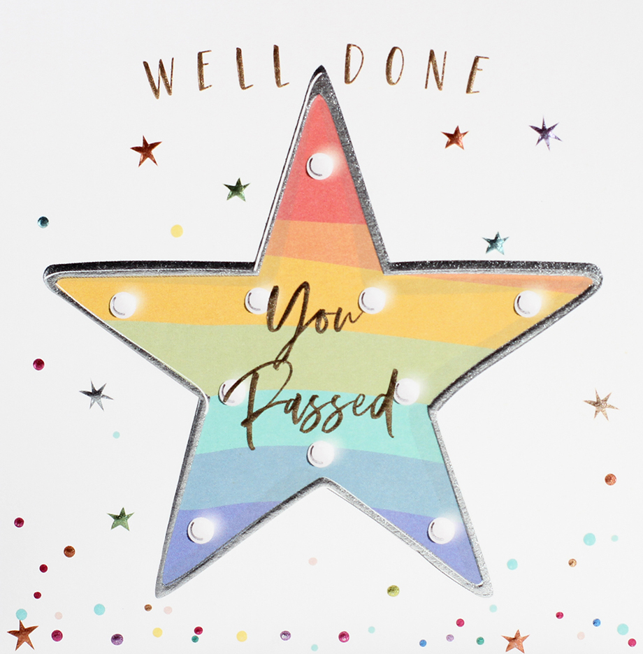 Rainbow Star You Passed Well Done Card