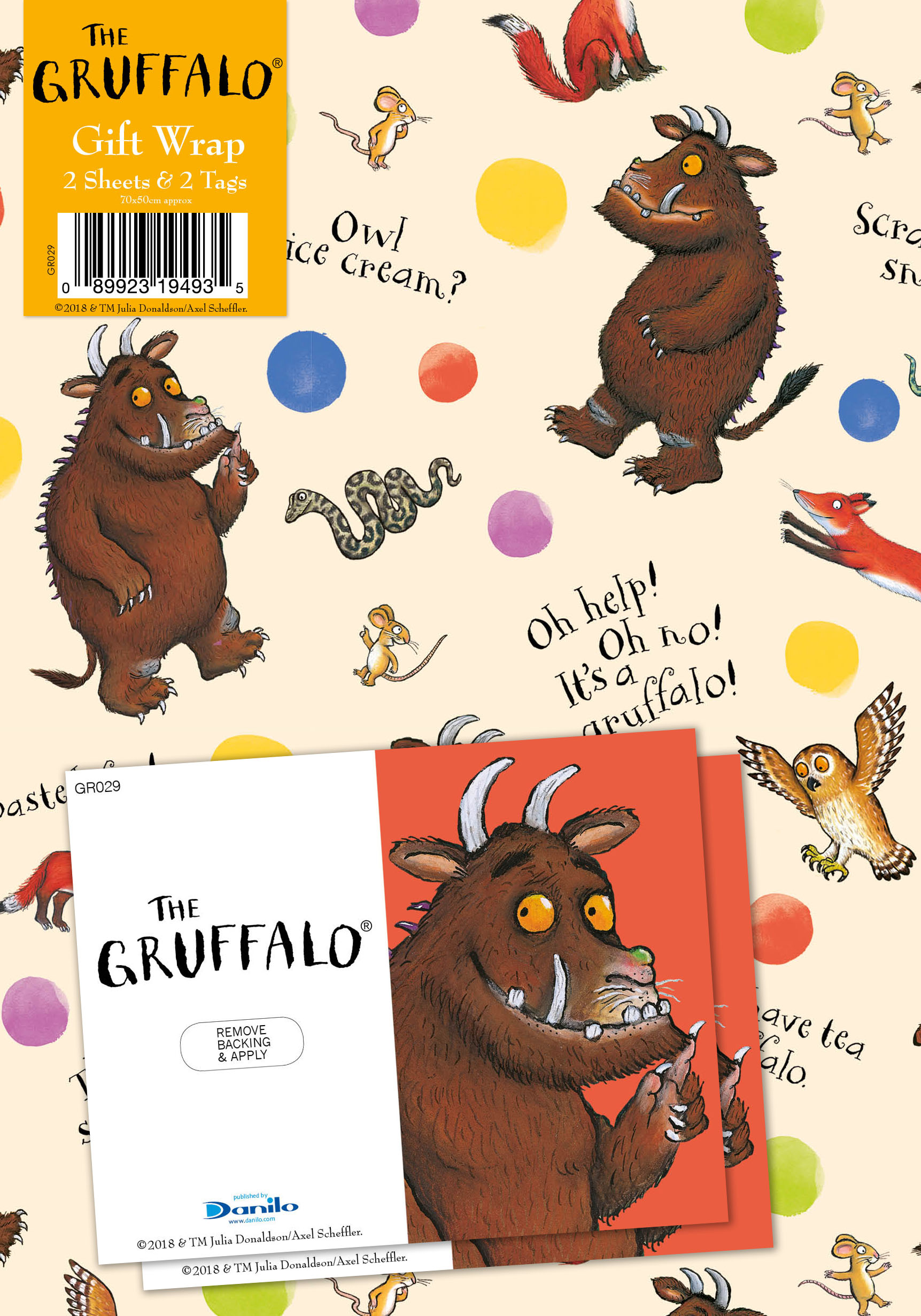 The Gruffalo Wrapping Paper 2 Sheets and 2 Tags