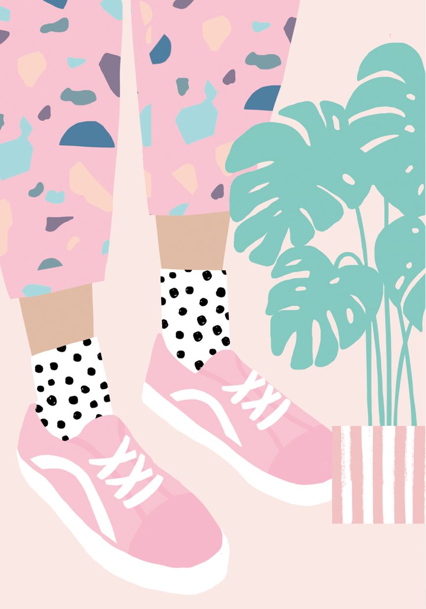 Pink Trainers Greeting Card