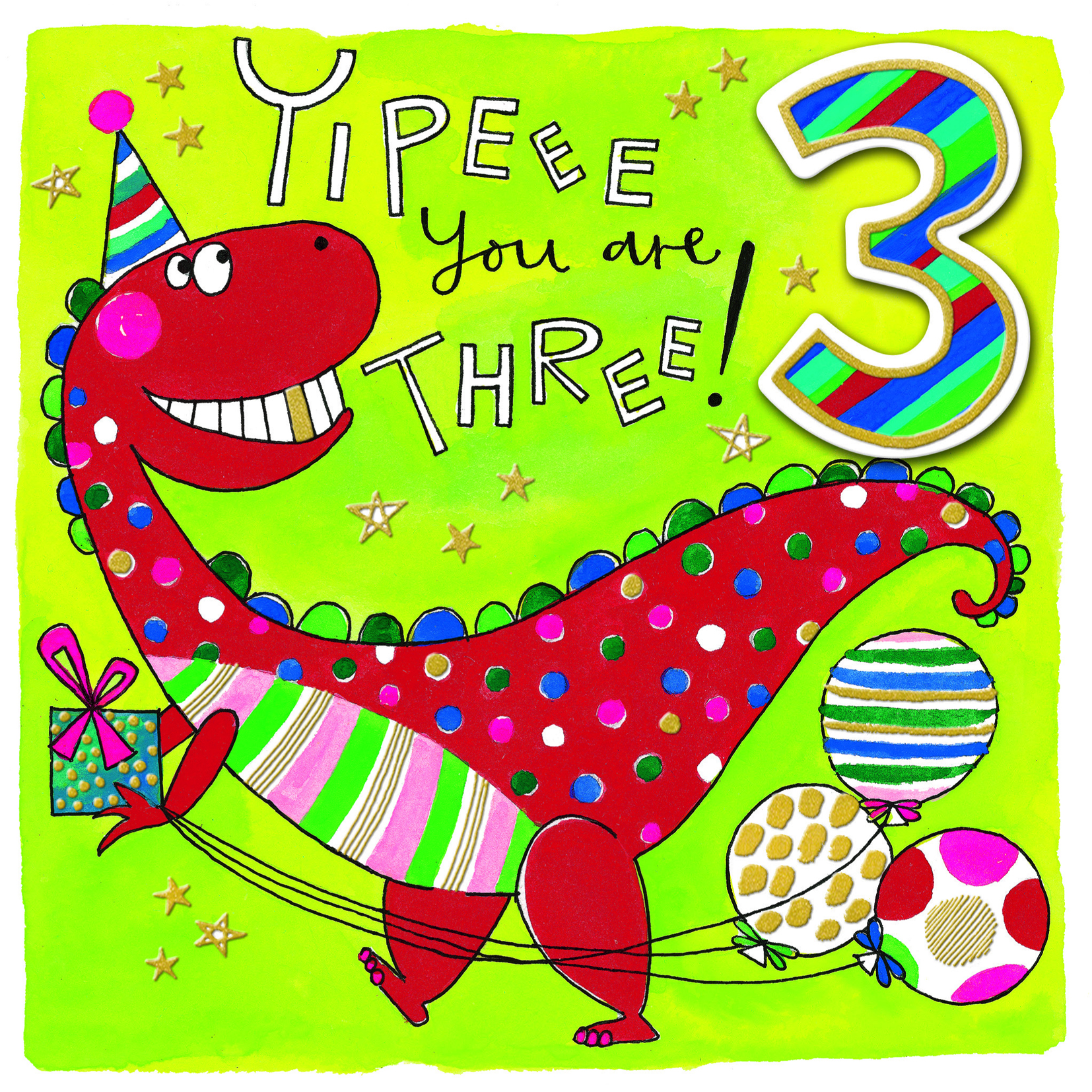 Dinosaur 3rd Birthday Card