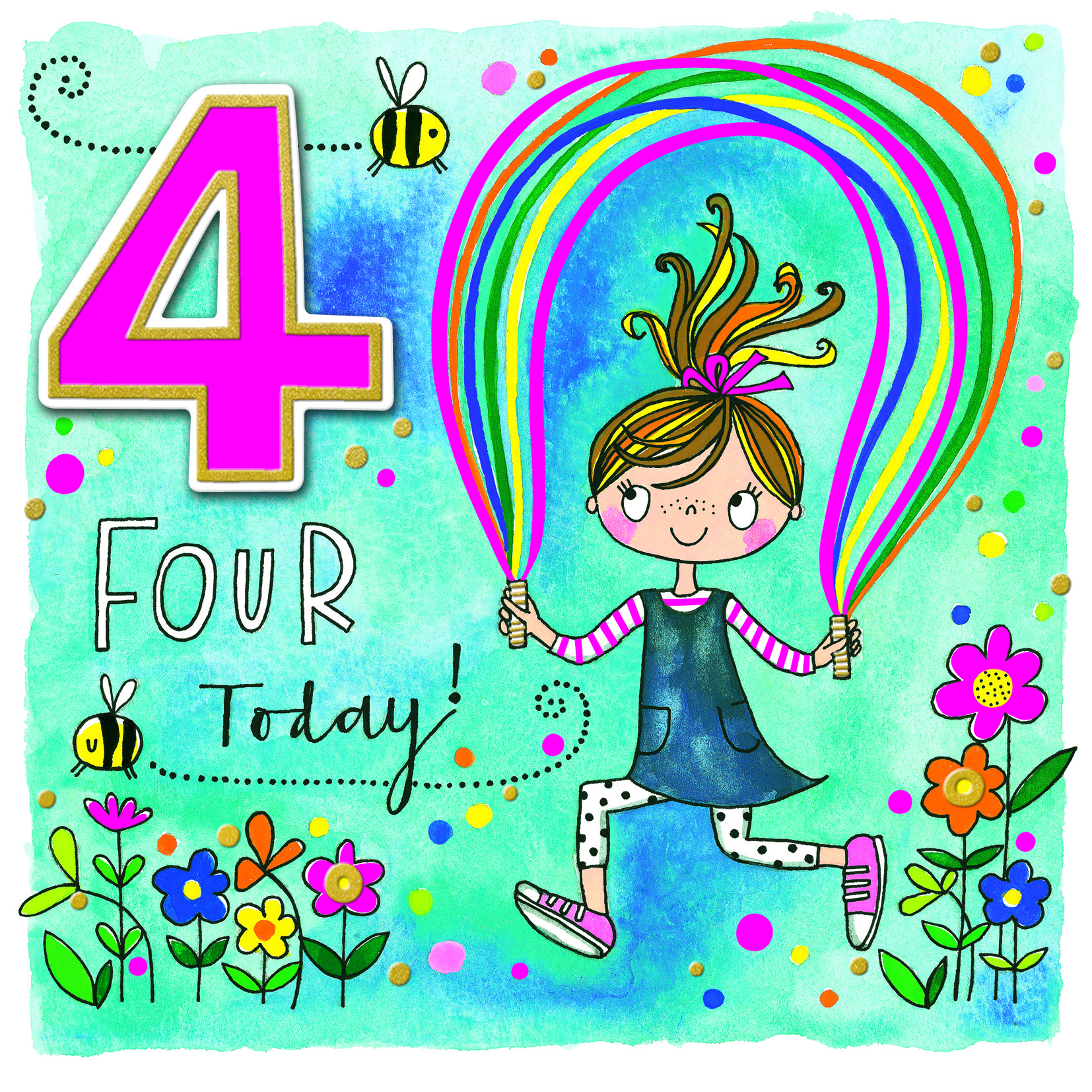 Rainbow Garden 4th Birthday Card