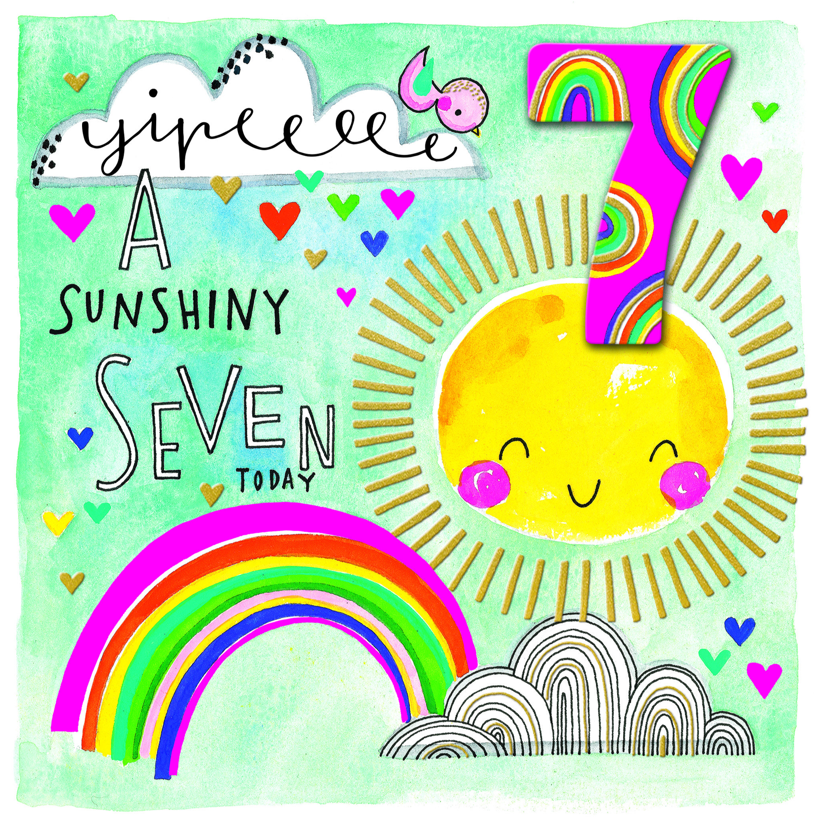 Sunshiny 7th Birthday Card