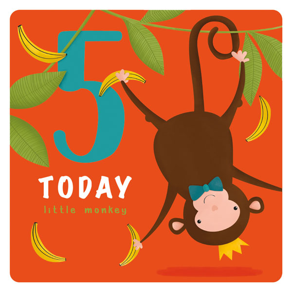 Monkey 5th Birthday Card