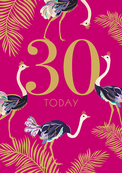 Ostrich 30th Birthday Card