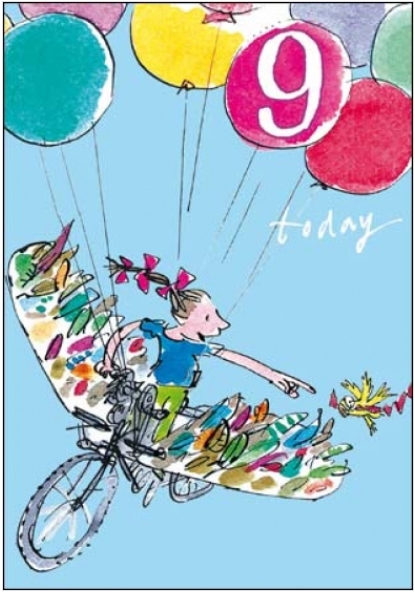 Flying Balloons 9th Birthday Card