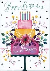 Floral Cake Birthday Card