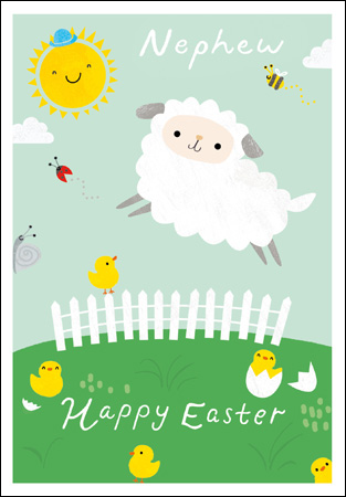 Sheep and Chicks Nephew Easter Card
