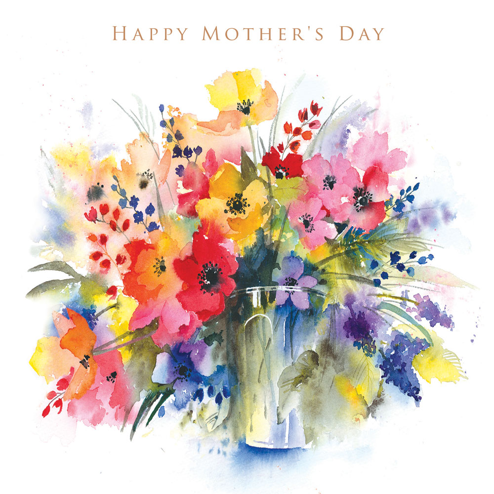 Watercolour Vase of Flowers Mothers Day Card