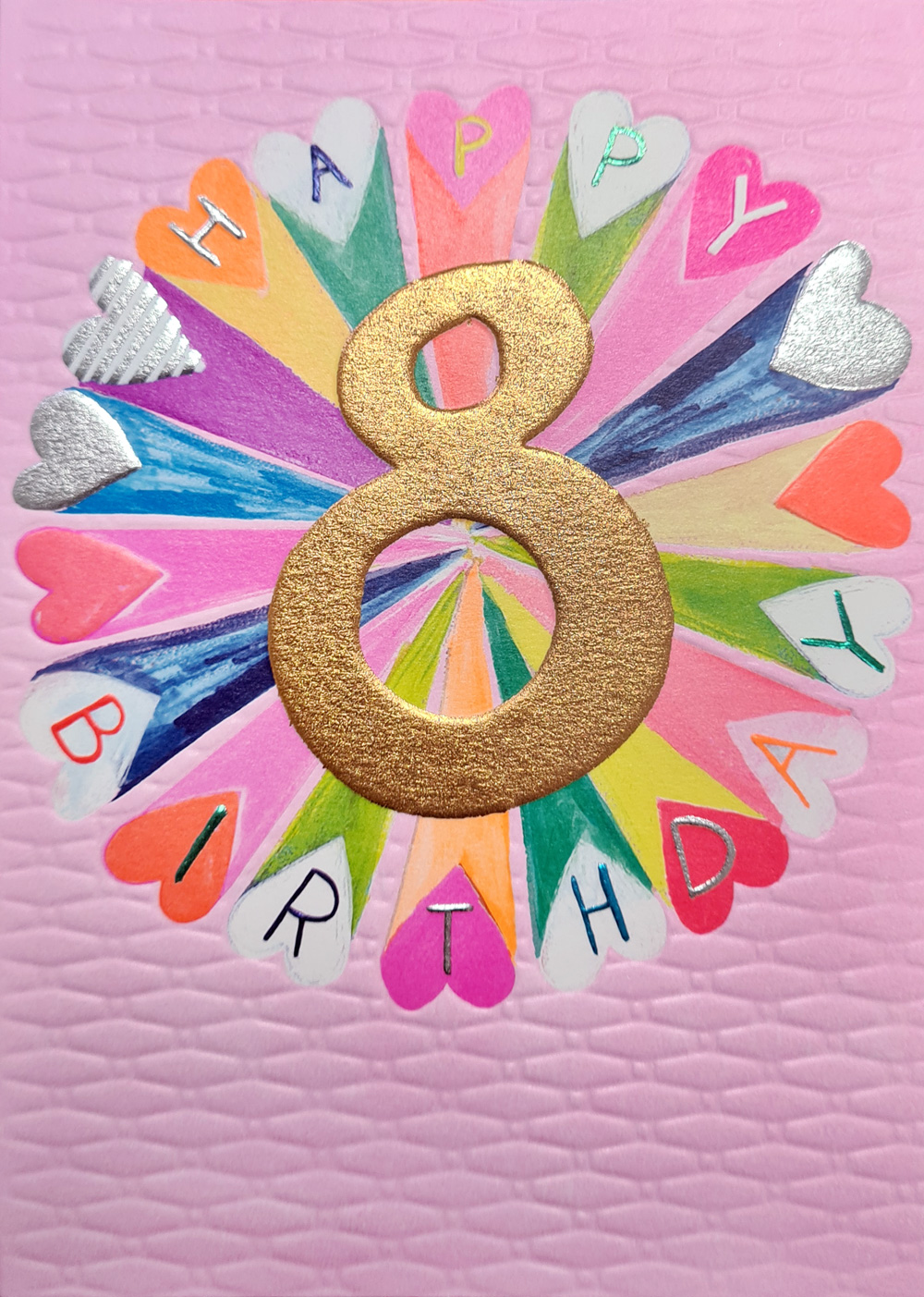 Rainbow Hearts 8th Birthday Card