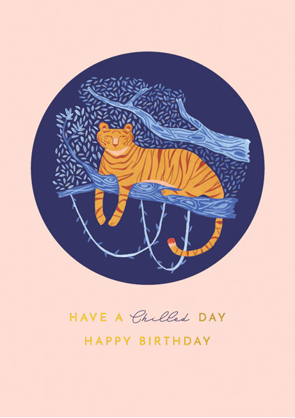 Tiger in a Tree Birthday Card