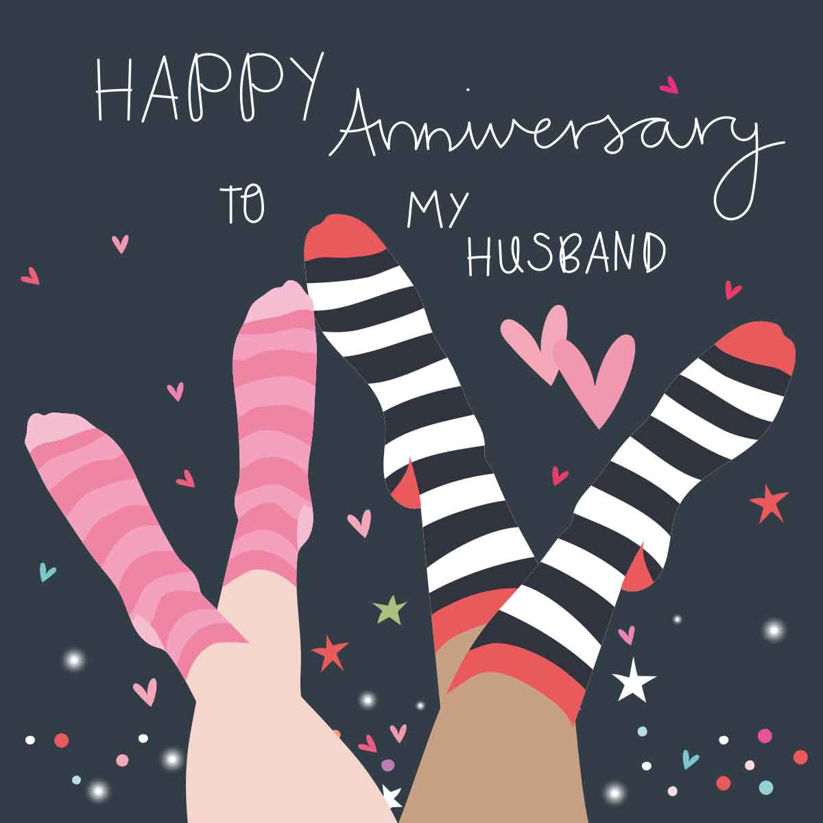 Striped Socks Husband Anniversary Card
