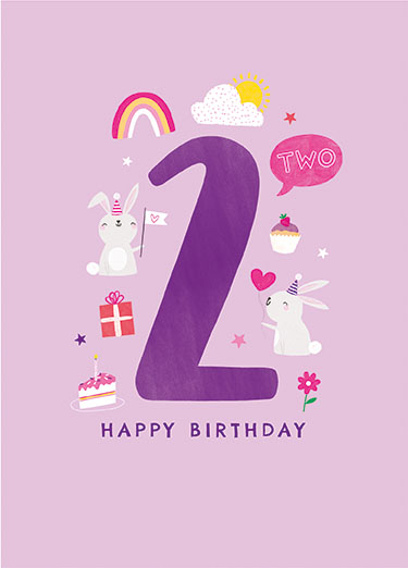 Bunnies 2nd Birthday Card