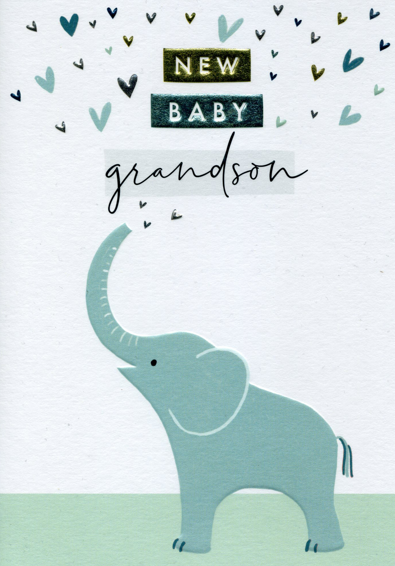 Blue Elephant New Baby Grandson Card