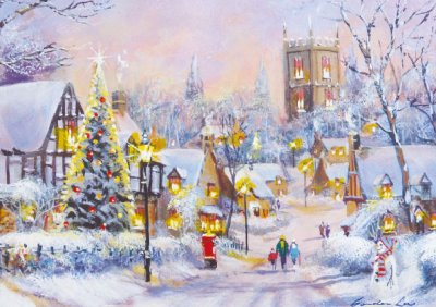Winter Village Personalised Christmas Card