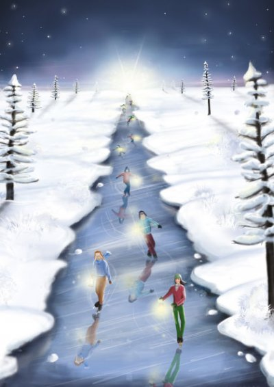 Christmas Skaters Personalised Christmas Card