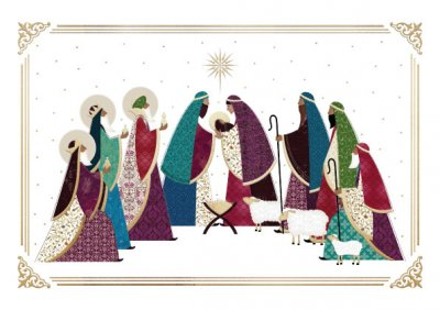 Golden Nativity Personalised Christmas Card