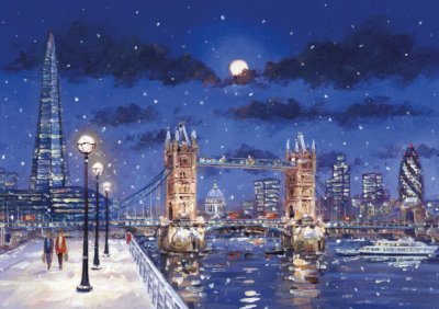 Winter's Evening on the Thames Personalised Christmas Card