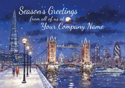 Winter's Evening on the Thames Personalised Christmas Card - Front Personalisation