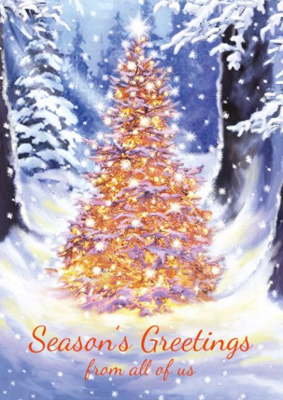Golden Glow Front Personalised Christmas Card