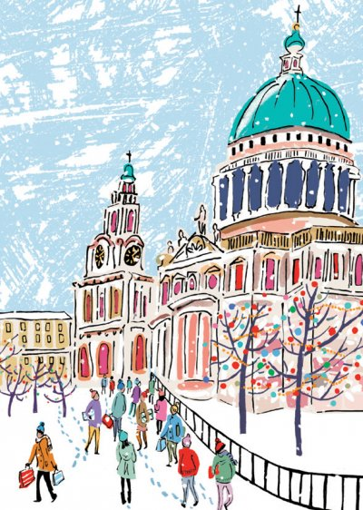 St Paul's in the Snow Personalised Christmas Card