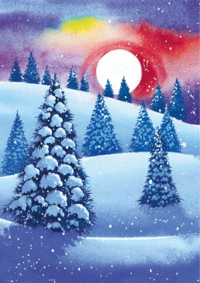 Snowy Trees at Sunset Personalised Christmas Card