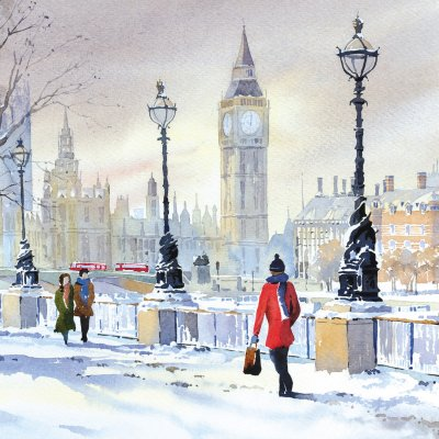 A Chilly Start to the Day Personalised Christmas Card