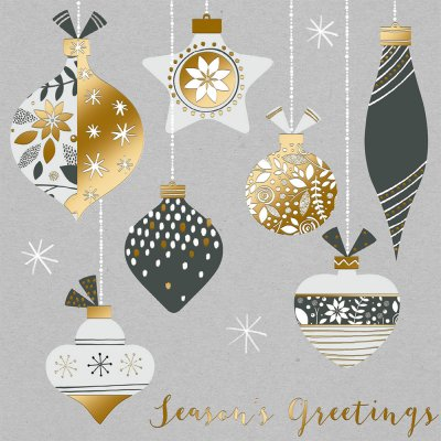 Festive Baubles Personalised Christmas Card