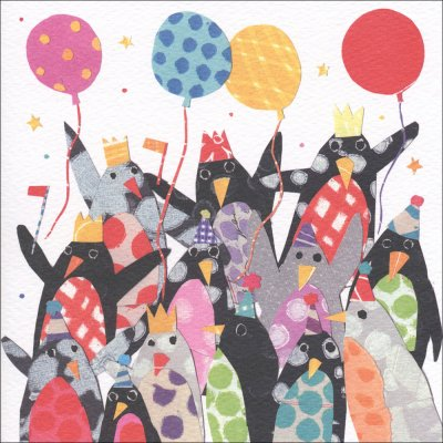 Cheering Penguins Greeting Card