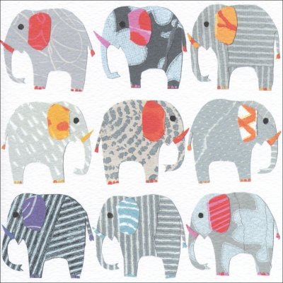 Elephants in a Row Greeting Card