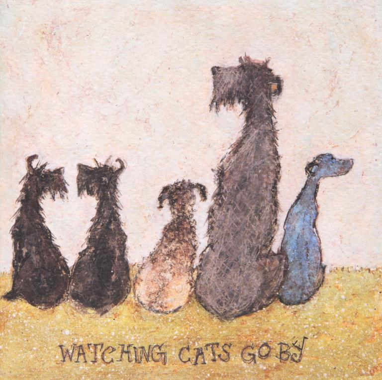Watching Cats Go By Greeting Card