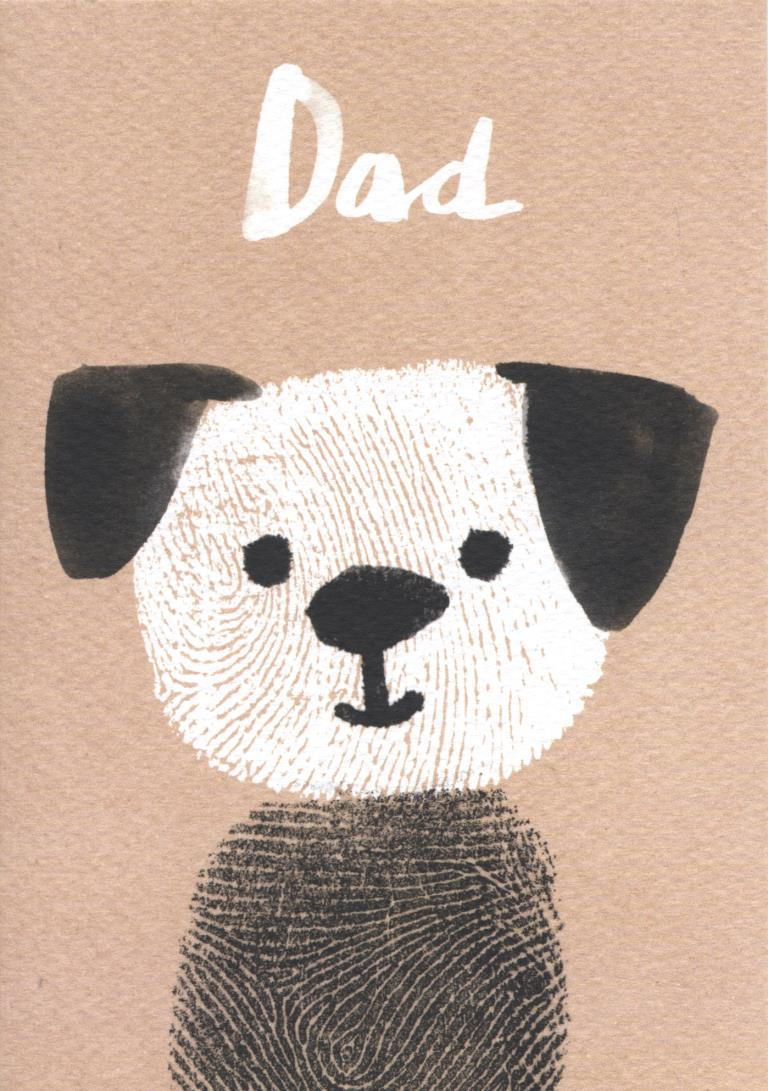 Fingerprint Dog Dad Birthday Card
