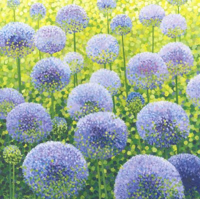 Azure Alliums Greeting Card