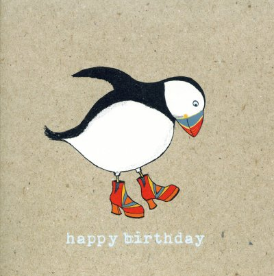 Puffin Boots Birthday Card