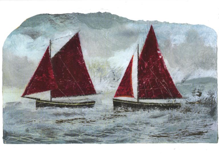 Red Sailed Ships Greeting Card
