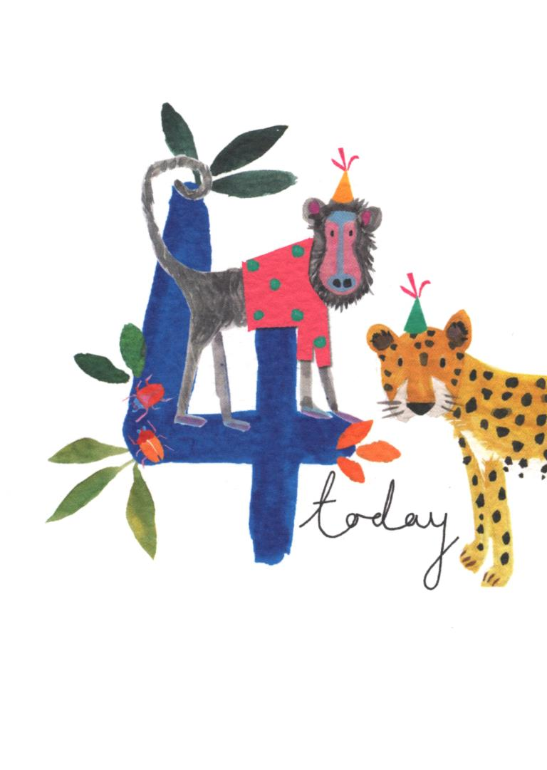 4 Today Jungle Blue Birthday Card