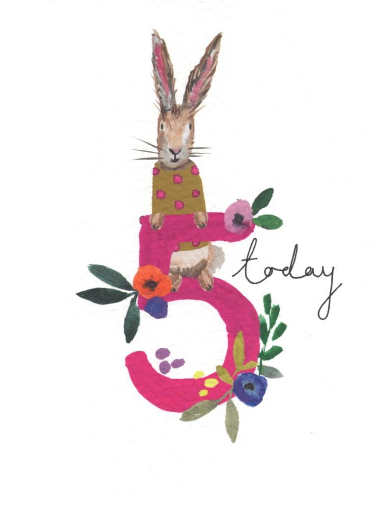 5 Today Rabbit Birthday Card