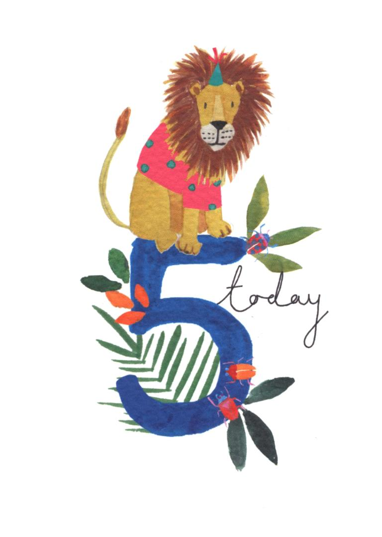 5 Today Lion Birthday Card