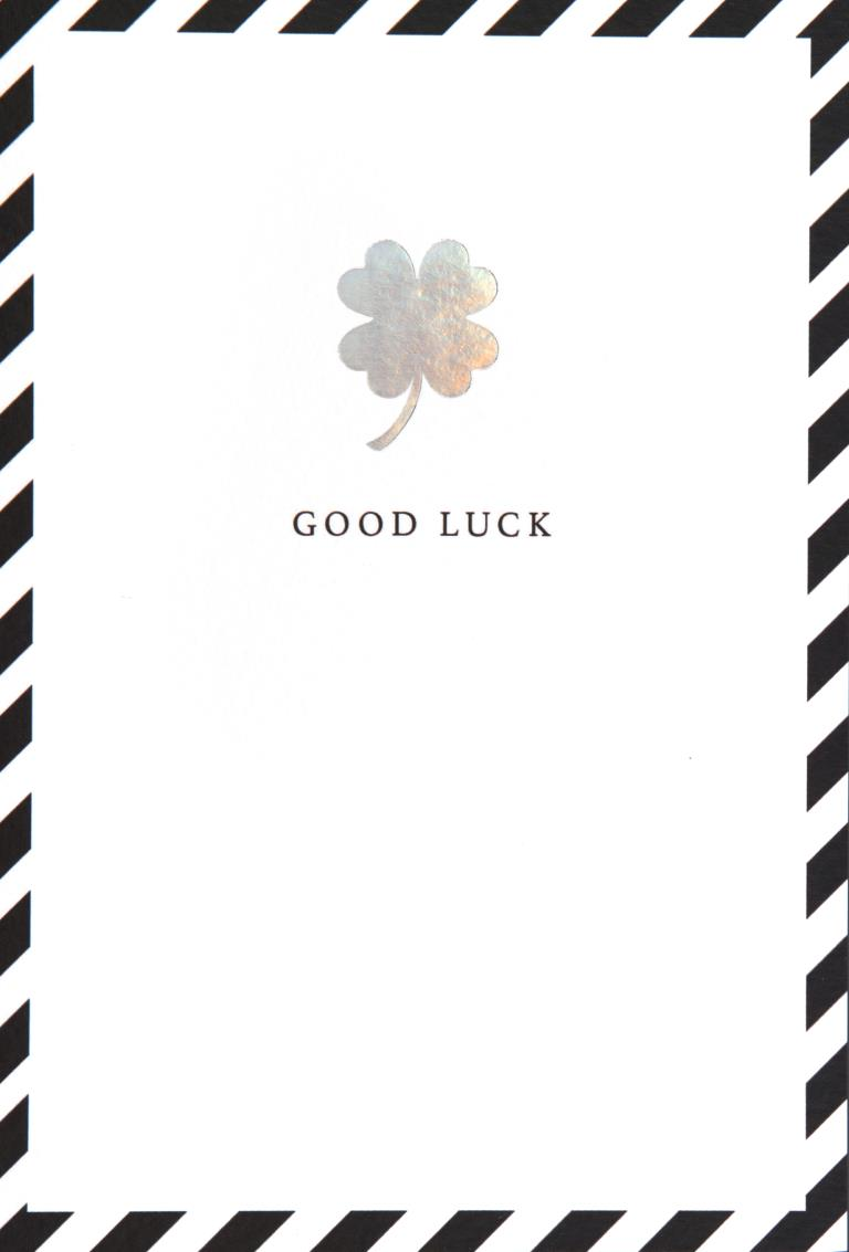 Silver Clover Good Luck Card