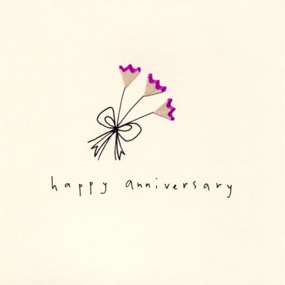 Pink Flowers Anniversary Card