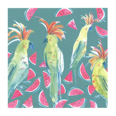 Cockatoos & Watermelons Greeting Card