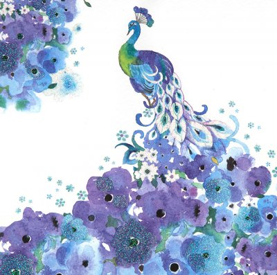 Watercolour Peacock Greeting Card