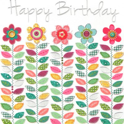 Flowers and Stems Birthday Card