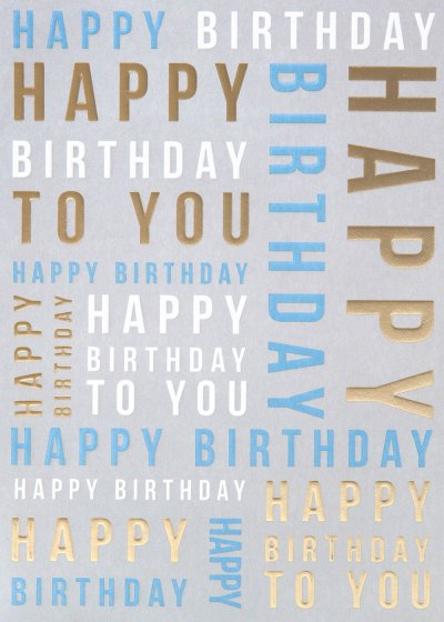 Blue and Gold Birthday Card