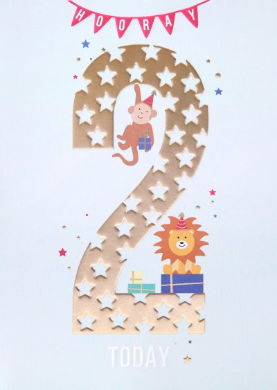 Hooray 2nd Birthday Card