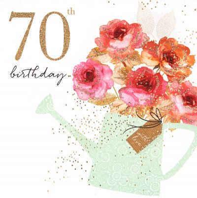 70th Watering Can Birthday Card
