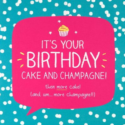 Cake & Champagne Birthday Card