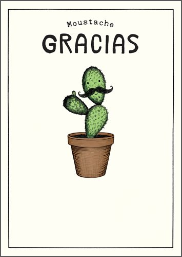 Moustache Gracias Thank you Card