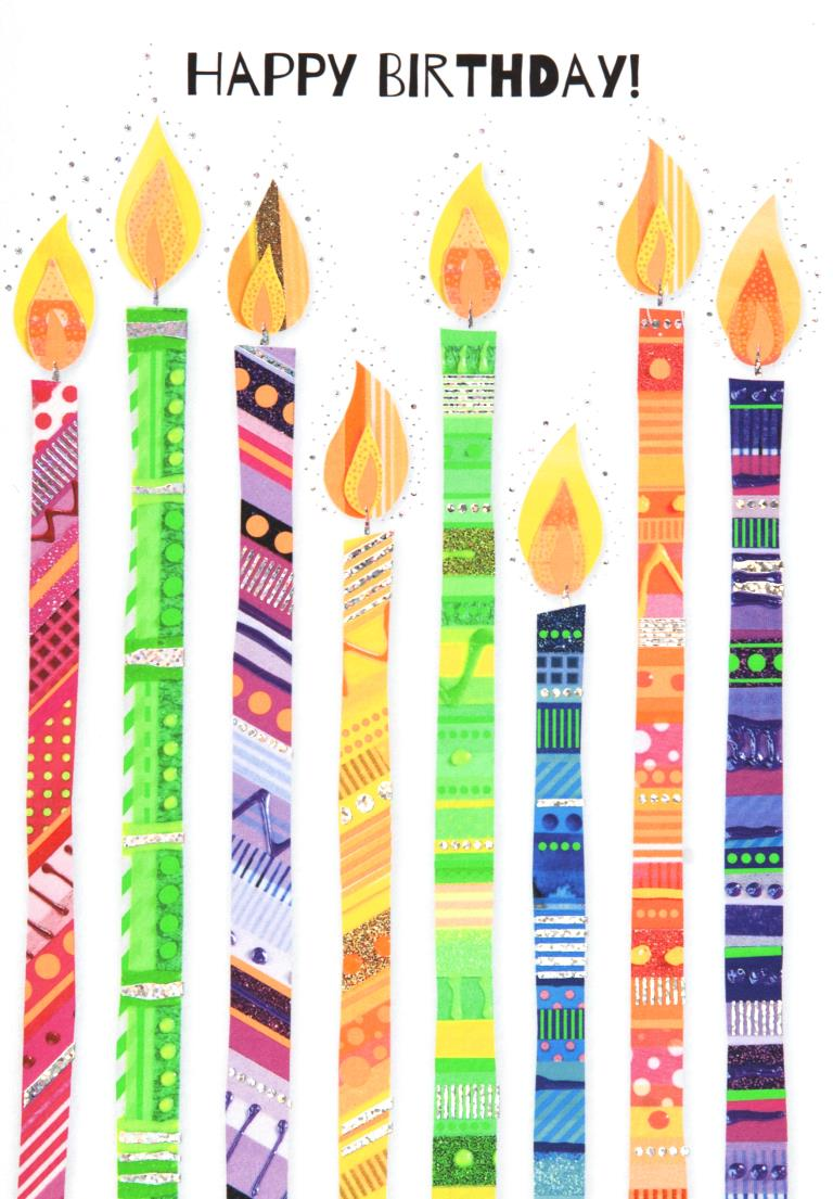 Neon Candles Birthday Card
