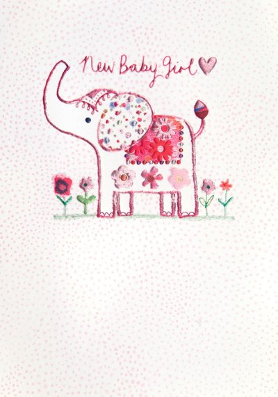 Elephant Girl New Baby Card